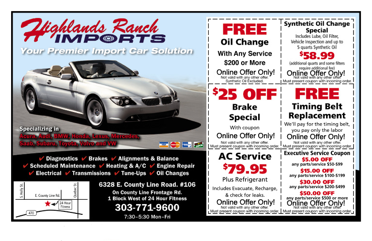 Highlands Ranch Imports Online Specials Include Oil Change, Brake Special, AC Service, Timing Belt Replacement Services